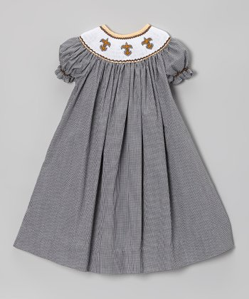 Black Gingham Fleur-de-Lis Bishop Dress - Infant, Toddler & Girls