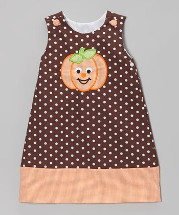 Brown Polka Dot Pumpkin Jumper - Infant, Toddler & Girls