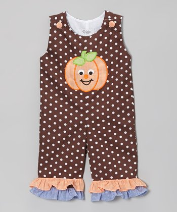 Brown Ruffle Pumpkin Playsuit - Infant, Toddler & Girls