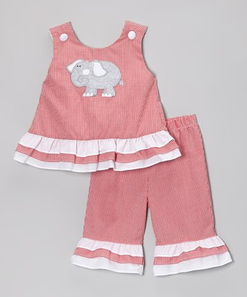 Red Gingham Elephant Ruffle Tank & Pants - Infant, Toddler & Girls