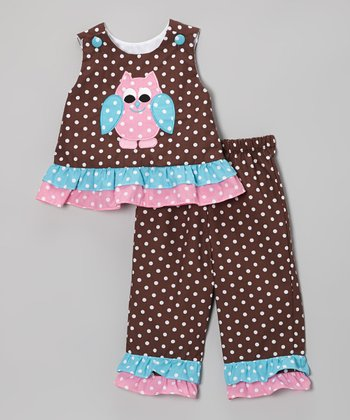 Brown Polka Dot Owl Ruffle Tank & Pants - Infant, Toddler & Girls