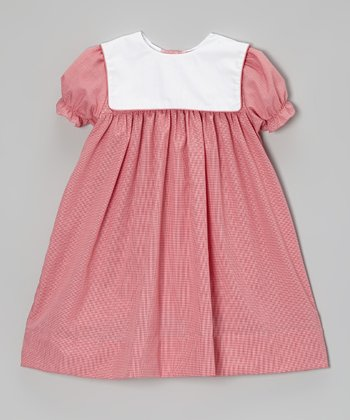 Red Gingham Square Collar Babydoll Dress - Infant, Toddler & Girls