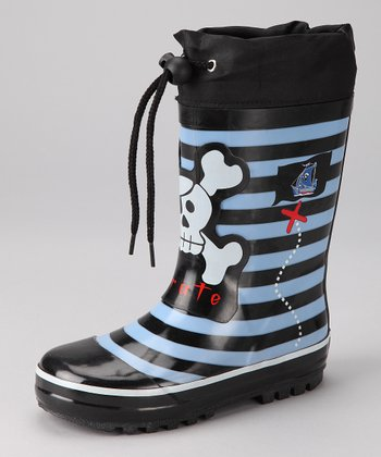 Navy Pirate Rain Boot - Kids