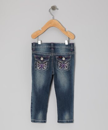 Blueberry Cream Butterfly Skinny Jeans - Infant