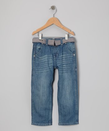 Light Blue Contractor Jeans & Belt - Toddler