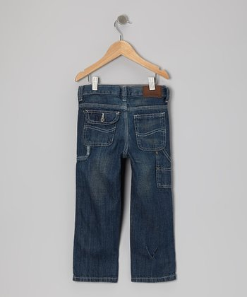 Dark Indigo Sand Contractor Relaxed Straight-Leg Jeans - Infant