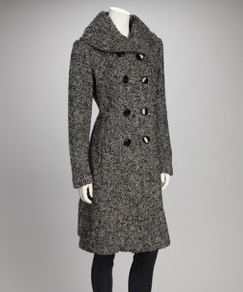 Charcoal & Black Double Breasted Wool-Blend Coat