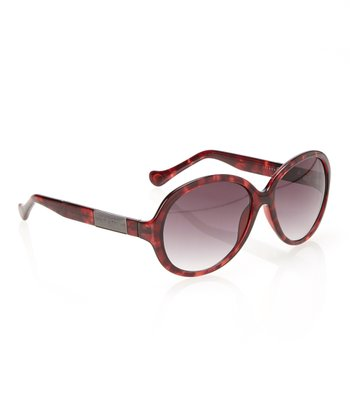 Red Tortoise & Smoke Gradient Lens Round Sunglasses