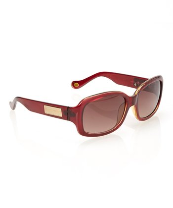 Burgundy Rounded Rectangle Sunglasses