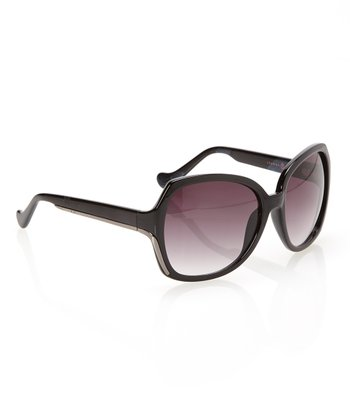 Black & Smoke Gradient Lens Oversize Butterfly Sunglasses