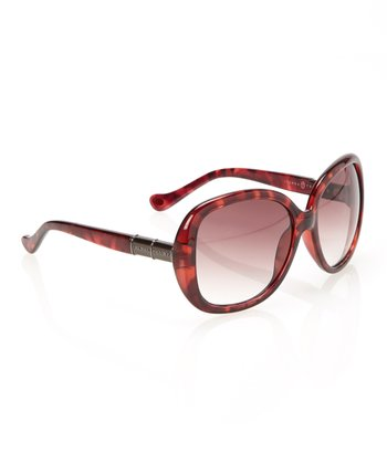 Red Tortoise Gradient Lens Rounded Butterfly Sunglasses