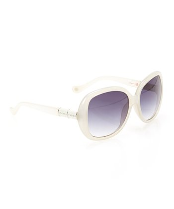 Ivory & Steel Gradient Lens Rounded Butterfly Sunglasses