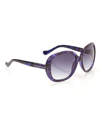 Blue Tortoise & Steel Gradient Lens Rounded Butterfly Sunglasses