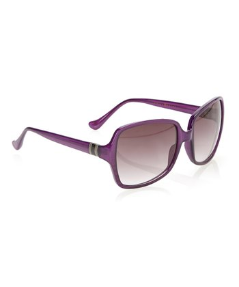 Purple Horn & Smoke Gradient Lens Squared Butterfly Sunglasses