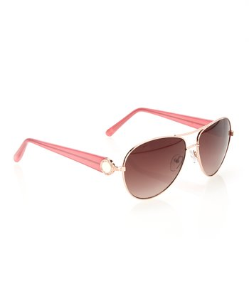 Rose Gold & Chestnut Lens Classic Pilot Sunglasses