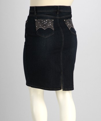 Dark Wash Embellished Plus-Size Denim Skirt - Plus