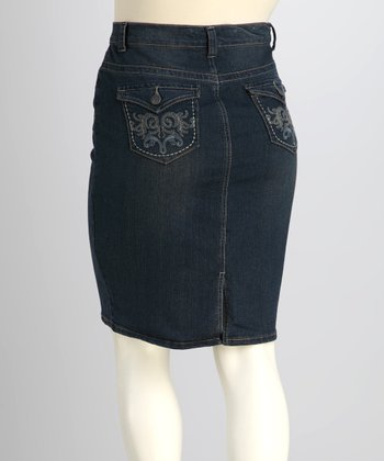 Medium Wash Embroidered Denim Skirt - Plus