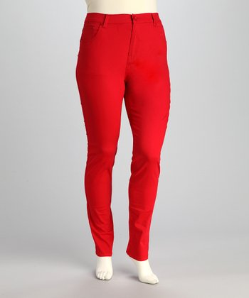 Red Plus-Size Skinny Pants