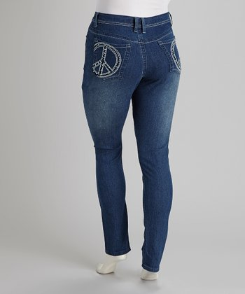 Blue Denim Rhinestone Peace Skinny Jeans - Plus