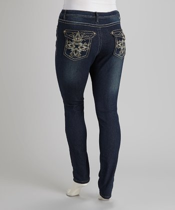 Dark Blue Denim Embroidered Skinny Jeans - Plus