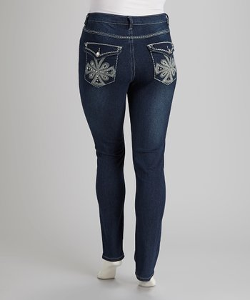 Blue Denim Rhinestone Skinny Jeans - Plus