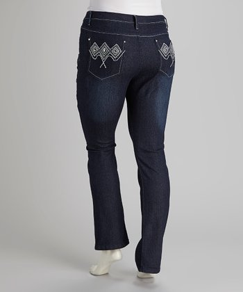 Dark Blue Denim Rhinestone Boot-Cut Jeans - Plus