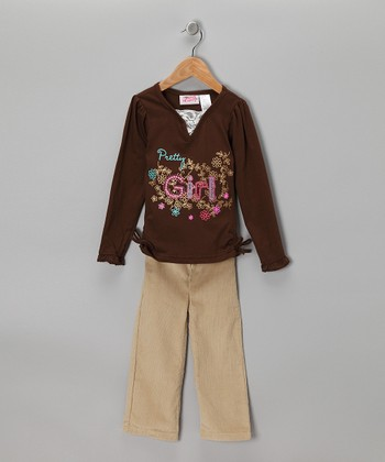 Beige & Brown 'Pretty Girl' Top & Pants - Infant