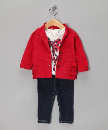 Red Polka Dot Bow Jacket Set - Infant