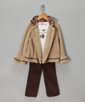 Beige & Brown Cheetah Jacket Set - Infant