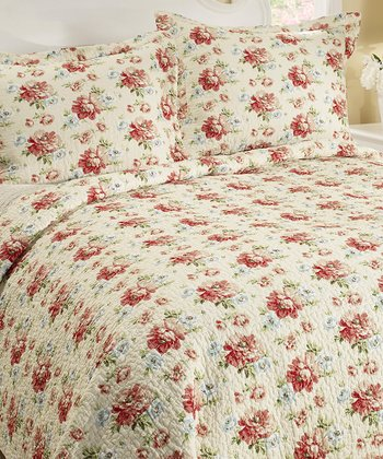 Cream Bramwell Quilt & Sham Set