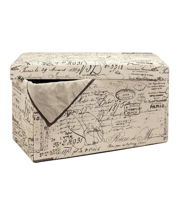 Parisian Postcard 30'' Collapsible Storage Ottoman