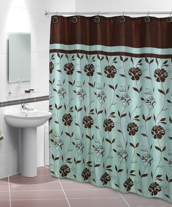 Brown & Mint Marcella Shower Curtain & Hook Set