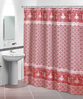 Red & Pink Olivia Shower Curtain & Hook Set
