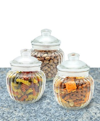 Three-Piece Scalloped Glass Canister & Lid Set