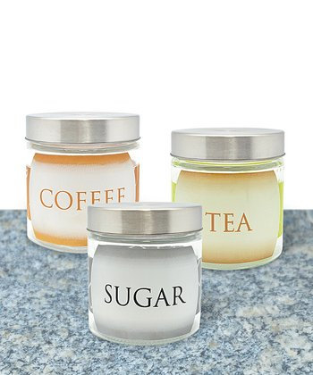 Coffee, Tea & Sugar Canister & Lid Set