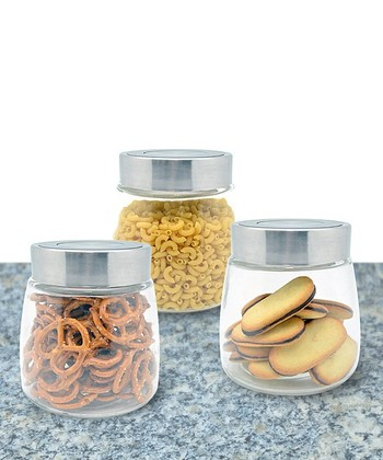 Three-Piece Small Glass Canister & Lid Set