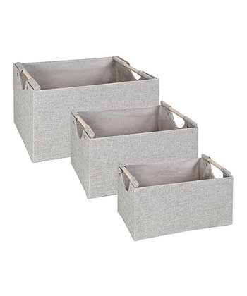 Light Gray Rectangular Nesting Storage Tote Set