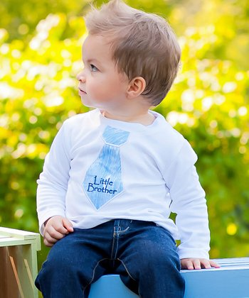 White 'Little Brother' Tie Tee - Toddler & Boys