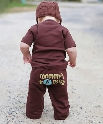 Brown 'Mommy's Monster' Pants - Infant