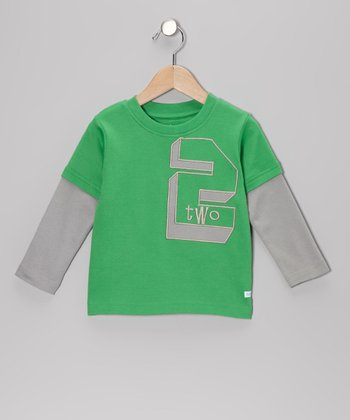 Green Birthday Number Layered Tee - Boys