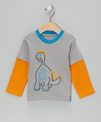 Gray & Orange Dinosaur Layered Tee - Infant