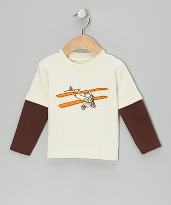 Ivory & Brown Airplane Layered Tee - Infant
