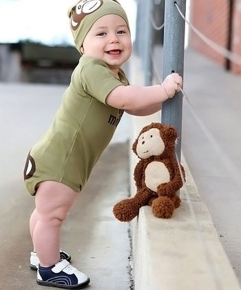 Olive 'Silly Monkey' Bodysuit - Infant
