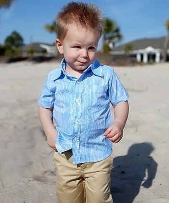 White & Blue Splash Stripe Button-Up - Infant & Toddler