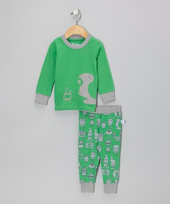 Green 'Mommy's Monster' Pajama Set - Infant, Toddler & Boys
