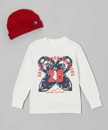 Cream 'Arctic Storm Trackers' Tee & Red Beanie - Toddler & Boys