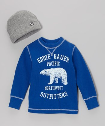 Cobalt Blue 'Eddie Bauer' Tee & Gray Beanie - Toddler & Boys