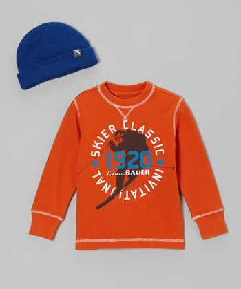 Autumn Leaf 'Skier Classic' Tee & Blue Beanie - Toddler & Boys