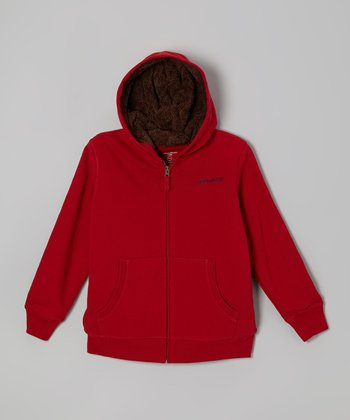 Crimson Sherpa Zip-Up Hoodie - Boys