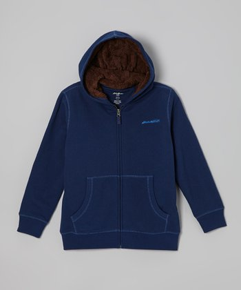 Bright Navy Sherpa Zip-Up Hoodie - Boys